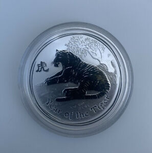 2010 Perth Mint Australian Lunar Tiger Solid Silver 1 oz Coin