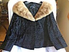 VINTAGE BROADTAIL PERSIAN LAMB Oversized MINK FUR Collar SWING Coat Jacket M/L
