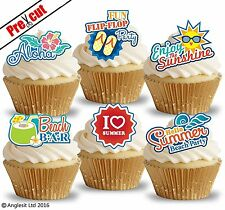 PRE-CUT SUMMER BEACH PARTY EDIBLE WAFER PAPER CUP CAKE TOPPERS DECORATIONS