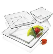 24-Piece Square Glass Dinnerware Set Service for 8 Clear Dinner Plates Bowls