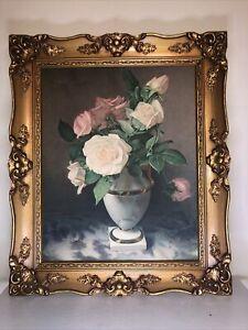 "Large Ornate Wood Picture Frame w/Floral Print 16"" x 20"" Vintage Gold"