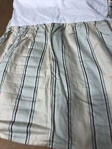 """CHAPS RALPH LAUREN QUEEN BED SKIRT Stripes Green Cream 15"""" Drop Split Corner"""