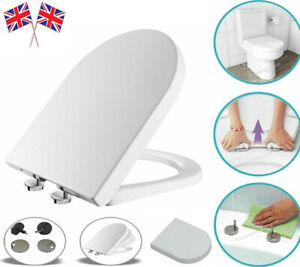 LUXURY D SHAPE HEAVY DUTY SOFT CLOSE TOP FIXING HINGES WHITE TOILET SEAT