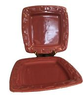 Longaberger Woven Traditions Pottery Paprika Red Square Dinner Plates Set Of (2)