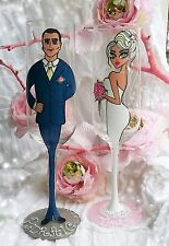 2 Personalised Hand Painted Wine Glass Champagne Flute Wedding Gift bride groom