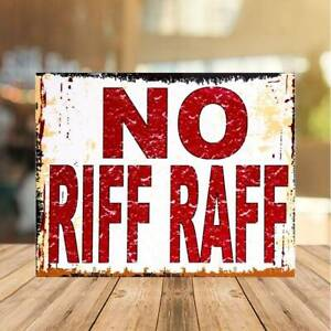 No Riff Raff Metal Sign Man Cave Retro Pub Bar Vintage Wall Plaque Beer Garage