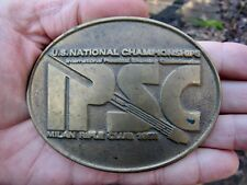 "Vtg PRACTICAL SHOOTING Belt Buckle 1983 World Shoot IPSC 4"" MIKE Bronze RARE VG+"
