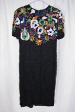 Vintage 1980's Carina Silk Beaded Sequin Multi-Colored Evening Dress