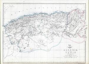 c1870 Original Antique Map ALGERIA & TUNIS TUNISIA North Africa Gulf of Cabes