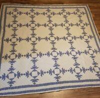 King/Queen Amateur Handmade White Blue Checkered Pineapple Cabin Quilt 82x82