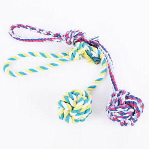 Chew Toy Knot Fun Strong Puppy Dog Pet Tug War Play Cotton Braided Bite Rope