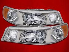 98-02 Lincoln Town Car New Lite Smoke Halogen Headlights Headlamps Set Pair