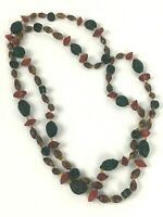 Vintage Seed Nut Necklace Strand Varnished Natural Brown Green String 46'' Beads