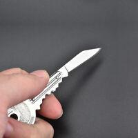 Mini Stainless Steel Peeler Key Shaped Knife Folding Blade Pocket Tool Portable!
