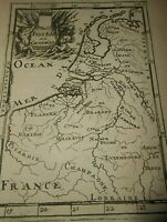 1683 COPPER ENGRAVING A.M.MALLET MAP OF NETHERLANDS HOLLAND
