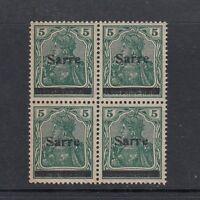 Saargebiet Mi-Nr. 4a III ** postfrisch - Viererblock
