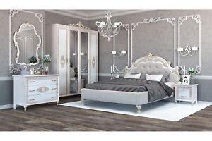 Italienisches Barock Schlafzimmer Medea in Beige 6-Teilig