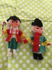 Vintage Kurt S. Adler Colonial Couple Christmas Ornaments Pair Felt Rubber Face
