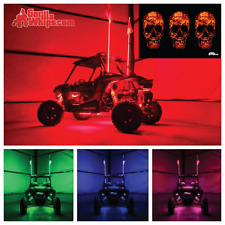 LED Lighted 6' Whip with WIRELESS Remote- ATV UTV RZR w/3 Skulls Flag