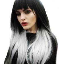 Lady Long Straight Synthetic Wigs Two Tone Black and White Ombre Wig+Net Cap