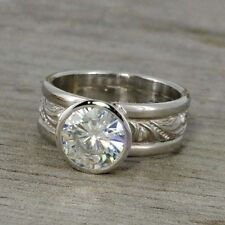2 Ct Off White Moissanite Bezel Set Antique Engagement Ring 925 Sterling Silver