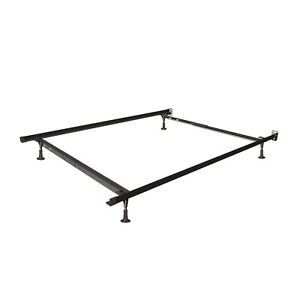 Twin Full Size Adjustable Bed Frame Steel Easy to Assemble Roller Wheels