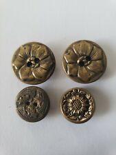 4 Antique Victorian Flower Buttons Brass Metal Sunflower & Other Flowers