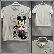 MICKY MOUSE Gray with Black Purple Graphics Cotton T Shirt Sz (L) Large #16516