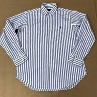 Ralph Lauren Golf Mens Size Medium White Blue Long Sleeve Button Front Shirt