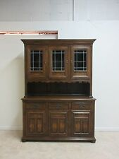 Ethan Allen Royal charter oak jacobean Hutch China Curio Cabinet Lead Glass