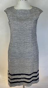 MAX MARA Weekend Striped Stretch Cotton Dress Pockets Size Medium 14