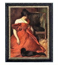 Victorian Lady In Red With Black Cat Miniature Dollhouse Picture
