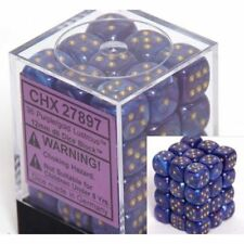CHESSEX LUSTROUS 12mm DICE SET 36 D6 PURPLE WITH GOLD