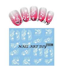 20 Stickers-decals water transfer-Adesivi per Unghie-NOTE MUSICALI BIANCHE !!!