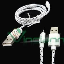 Cavo dati Tessuto Nylon BIANCO per HTC One M8 mini USB carica e sincronizza