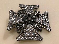 Maltese Cross Rhinestones Silver Tone Metal Belt Buckle.