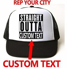 STRAIGHT OUTTA COMPTON HAT * Custom Printed with YOUR city* Snapback Trucker NWA