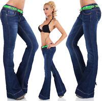Pantalones Vaqueros de Mujer Boot-Cut Recortado Flarecut Denim Campana XS S