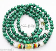 Beautiful 108 6mm Green Malachite Buddhist Prayer Beads Mala Luck Bracelet