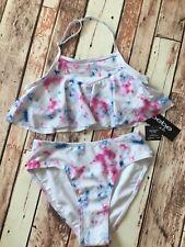 BeBe Girls Size 14 Bikini White Watercolor Bling 2pc Bathing Suit BxB
