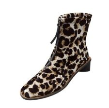 Women Low Chunky Heel Ankle Boots Front Zip Square Toe Leopard Pattern Shoes D