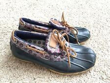 Sperry Womens Duck Boots Low Cut Rubber Rain Boots Waterproof Blue Size 6 Blue