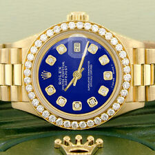 Rolex President Datejust Ladies Gold 26mm Watch Royal Blue Dial & Diamond Bezel