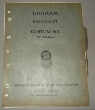 1930 GRAHAM PARTS LIST MANUAL ORIGINAL SERIES CUSTOM SIX 121""