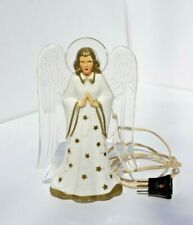 Vintage Hard Plastic Angel Christmas Tree Topper, Clear Wings Gold Stars, Works