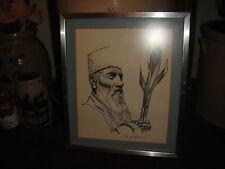 Superb Middle Eastern Drawing Print Of Elder Muslim Man-Signed Sal Slureilwa?