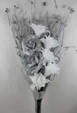 HANDMADE ARTIFICIAL SILK SILVER GLITTER ROSE, WHITE FLOWER, SILVER GRASS BOUQUET