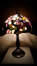 QUOIZEL COLLECTIBLES Stained Glass Shade on Vintage Hi/Low Lily Pad Base Lamp