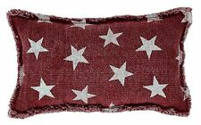 BARN BURGUNDY RED STAR CANVAS PILLOW : PRIMITIVE RUSTIC PATRIOTIC TOSS CUSHION