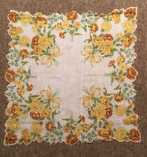 Vintage Ladies Hanky Beautiful Yellow Carnations And Forget me Nots. Gorgeous!